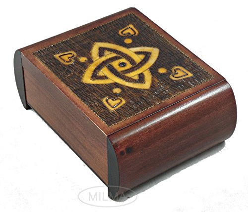 Classic Celtic Love Knot Secret Jewelry Keepsake Polish Wood Box Sailor Celtic Knot