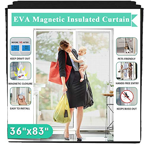 Magnetic Insulated Door Fit Doors Up to 34'x82', IKSTAR EVA Thermal Door Cover for Kitchen, Bedroom, Exterior/Interior/Doors with Draft Stopper, Kids/Pets Walk Through Free and Hands Free Closure