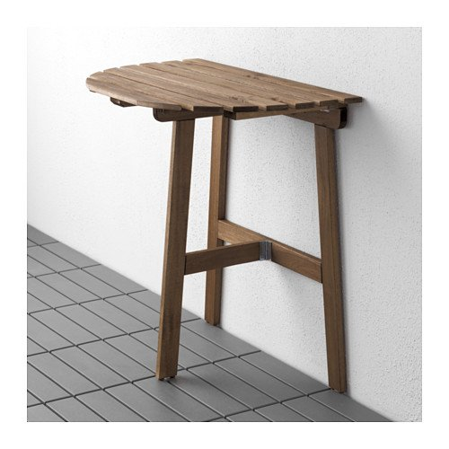 Durable Outdoor Brown Stained Solid Acacia Wall-mounted Drop-leaf Table 70x44 cm