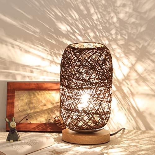 Decoración de Noche luz Recargable Noche LED, bramantes Madera lámpara de Mesa Takraw sólido, Bola cáñamo pequeña lámpara de Mesa, Materia de Fibra Vegetal, eficiente y Uniforme de la luz,Marrón