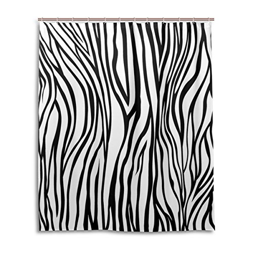 My Daily Einzigartige Schwarz und Weiß Zebra Streifen wasserdicht Badezimmer Decor Polyester Duschvorhang 152,4x 182,9cm