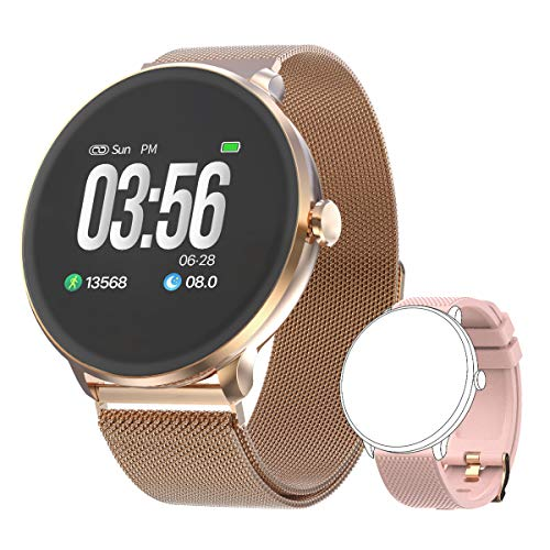 Bebinca Smartwatch Fitness Activity tracker Notifiche Facebook Whatsapp Contapassi Pressione Sanguigna Cardiofrequenzimetro da polso per Android iOS Huawei + 1 Cinturino in metallo(Rosa)