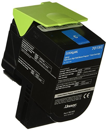 Lexmark Genuine Brand Name, OEM 70C1XC0 (Lexmark 701XC) Return Program Extra High Yield Cyan Toner Cartridge (4K YLD)