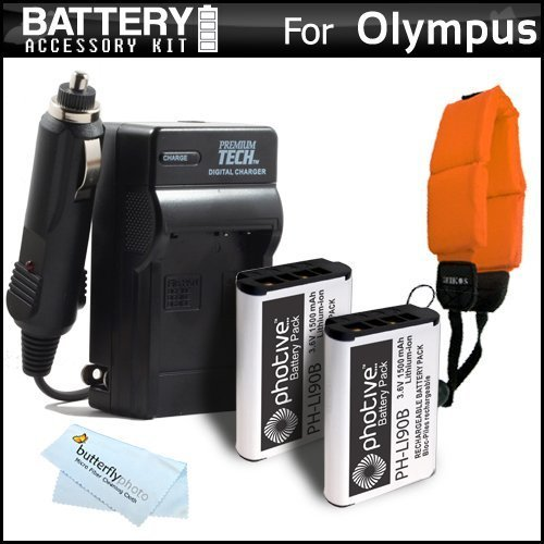 2 Pack Battery and Charger Kit Bundle for Olympus Tough TG-Tracker, TG-5, TG-2iHS, TG-3, TG-4 Waterproof Digital Camera Includes 2 Replacement (1500Mah) LI-90B, LI-92B Batteries + Charger + More