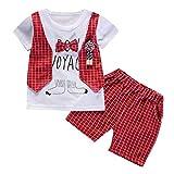 Briskorry Conjunto de ropa para niños de verano con camiseta y pantalones cortos para niños de 12 a 3 y 2 piezas de traje para cumpleaños, fiestas, bautizos