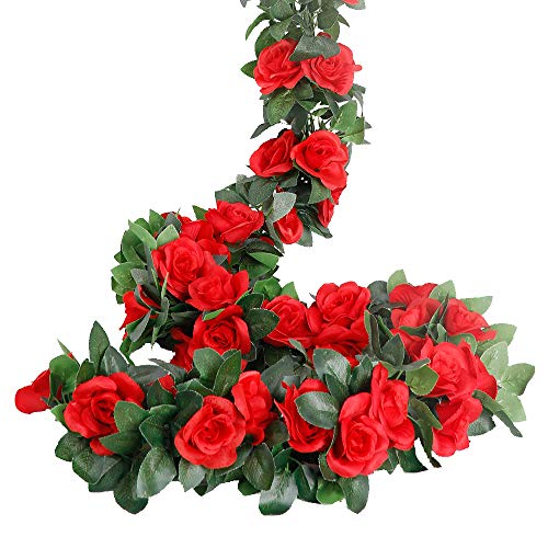 LESING Rose Garlands Artificial Rose Vines,4PCS(28.8FT) Fake Silk Flower Garlands with Greenery Plants Wedding Hanging Flower Vines Garlands for Home Office Arch Garden Decoration (Red)
