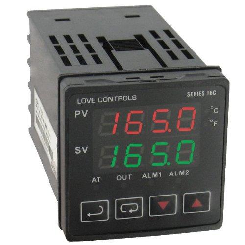 Love 1/16 DIN Temp Controller, 16C-3, PID Control, Auto-Tuning, Dual Display, RS-485 Modbus ASCII communication protocol