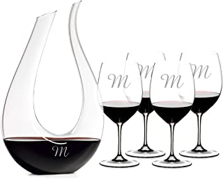 Personalized Riedel Amadeo Lyra Decanter & 4 Riedel VINUM Bordeaux/Merlot/Cabernet Wine Glasses Engraved & Monogrammed - Great Holiday & Christmas Gift!
