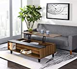 47'' Coffee Table Lift Top Wood Home Living Room Modern Lift Top Storage Coffee Table with Hidden Compartment Lift Table top Furniture Walnut & Black