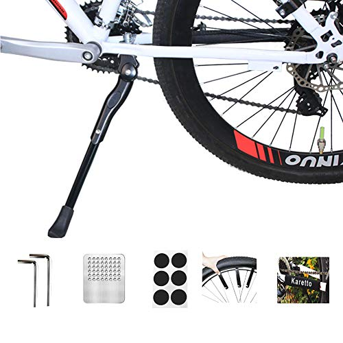Bike Kickstand adults- Adjustable Aluminium Alloy Bicycle Center Mount Kickstand Fit for 22' 24' 26' 28' Bike Kick Stand for Mountain Bike Road Bicycles Kickstand