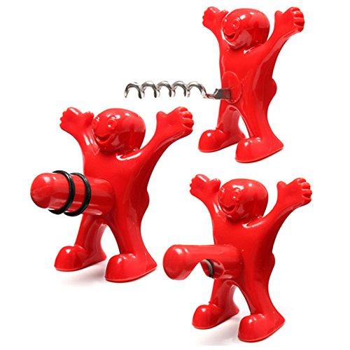Doxa Lot de 3 ustensiles Happy Man pour bouteilles de vin : décapsuleur, bouchon de bouteille et tire-bouchon Coffret Cadeau, Métal, Red, 3 pack set
