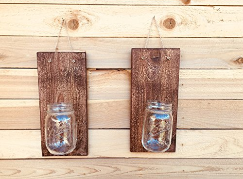 VOSSIK Handcrafted Rustic Mason Jar Wall Sconces - Wall Sconces Set of Two - FREE SHIPPING (Farmhouse Decor Rustic Wall Sconce Candle Holders For Wall)