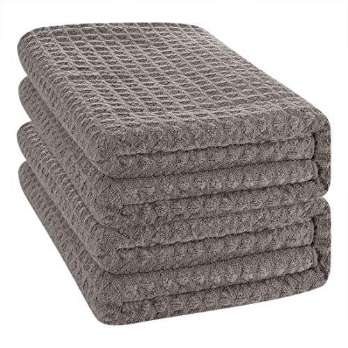 Microfiber Towel CHRUNONE Bamboo Washcloths Facial Towels Makeup Remover Cloth Set of 4 Super Absorbent /& Quick-Dry Bamboo Towels Bathroom Sets