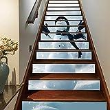 3D Pupazzo di neve Autoadesiva Le scale alzata Murale Vinile decalcomania Adesivi per scale decorazione per Natale Feste 39,3 pollici x7,08 pollici x 13 pezzi