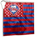 G-III Sports Philadelphia Phillies Quality Polyester Fabric Waterproof Shower Curtain for Hotel Bathroom Showers and Bathtubs 72x72 in