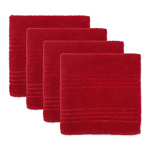 DII Microfiber Multi-Purpose Cleaning Towels & Cloths, Red (4), Dishcloth,...