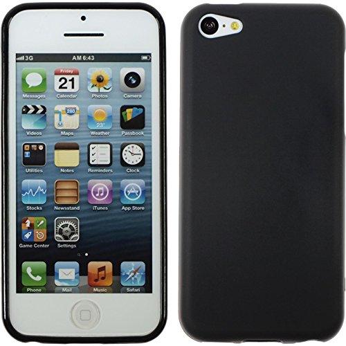 PhoneNatic Custodia Compatibile con Apple iPhone 5c Cover Nero stuoia iPhone 5c in Silicone + Pellicola Protettiva