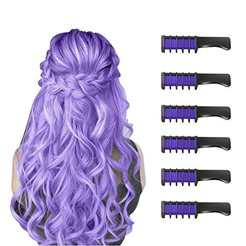 6 Stück Haarkreide Kamm Temporäre Färben HaarfarbeKamm für Kinder Auswaschbar Ungiftig Perfektes für Mädchen Erwachsene Geburtstag Party Erntedankfest Halloween Cosplay(Lila)