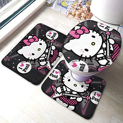 Cartoon Hello Kitty Badezimmer Antirutsch-Polster Rutschfester Badteppich Bodenmatte Teppich 3 Sätze -Floor Mat + U-förmiges Pad + Ein O-förmiger Bezug, waschbare Matten für die Dusche zu Hause