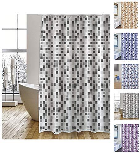 """MSV Cotexsa by Premium Anti-Schimmel Textil Duschvorhang - Anti-Bakteriell, waschbar, 100prozent wasserdicht, mit 12 Duschvorhangringen - Polyester, """"Mosaik"""" Schwarz/Weiß 180x200cm – Made in Spain"""