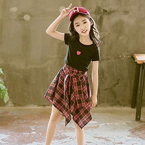 Girls Short Sleeve Top +Skirt Max 45% OFF Two-piece Colo Suit usar de Choice Fácil