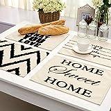 Tovaglietta da 2/4/6 pezzi, motivo geometrico a lettera di fantasia, tovaglietta per tavolo da pranzo, sottobicchieri in cotone e lino, 42 x 32 cm, set di 4 stampe casuali