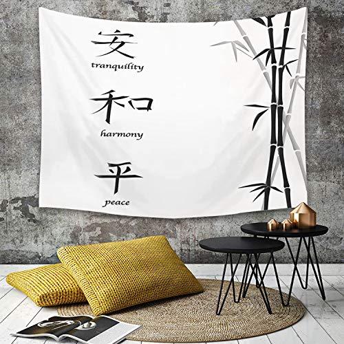 Tapisserie Murale Hippie Décoration Tenture Couverture Pique,Décor de Bambou, Illustration de Symboles Chinois pour Tranquility Harmony Paix avec,Nappe Serviette de Plage Yoga Indienne Tapestry