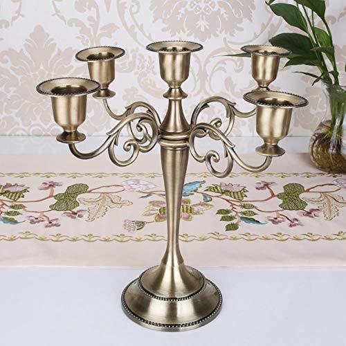 TINGS Metal Pilar Candelabros Candelabro Decoración de la Boda Soporte para Mariage Decoración para el hogar Candelabro, Bronce-5 Brazos