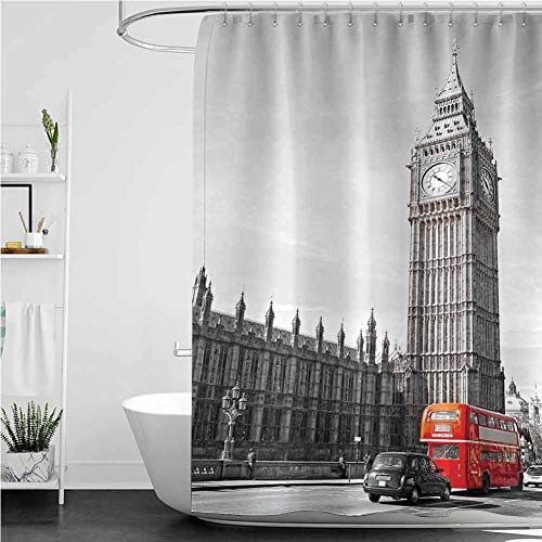 StarsART Shower Curtains for Bathroom Girls Big Ben Tower Begining of Westminster Bridge with Black Cab and Red Bus Image,W36 INCH x L72 INCH Decor Shower Curtain