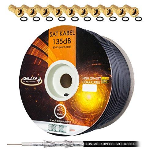 HB Digital 135dB 100m Koaxial SAT Kabel Reines KU Kupfer Schwarz Koax Kabel Antennenkabel 5-fach geschirmt für DVB-S / S2 DVB-C und DVB-T BK Anlagen + 10 vergoldete F-Stecker mit Gummiring SET Gratis dazu