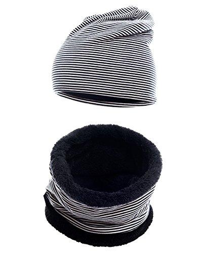 Hilltop Winter-Set, bestehend aus Baumwolle für Kinder. Wärmendes Set aus kurzem LOOP Schal mit Teddy Fleece und passender Beanie Mütze, Farbe:Kopfumfang 52-58 cm. Schwarz