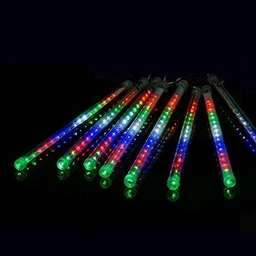 Ecloud Shop® 50cm LED Lumière Meteor Douche Pluie Lumières de Pluie pour Noël Mariage Arbre Partie Mall Décoration a Set 8 Tube (Coloré)
