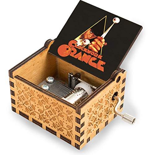 niaoyun - Caja de música de madera naranja grabada con láser, caja de música de manivela de madera, regalo para cumpleaños, Navidad, aniversario, boda, San Valentín, día de la madre