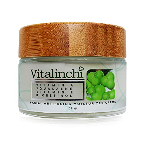 Vitalinchi Facial Anti-Aging Moisturizer Cream – Facial Moisturizer with Vitamin A and Natural Cacay Oil, Squalene and Bio Retinol – Hydrating Face Cream for Women and Men – Prevents Spots, Aging and Dryness