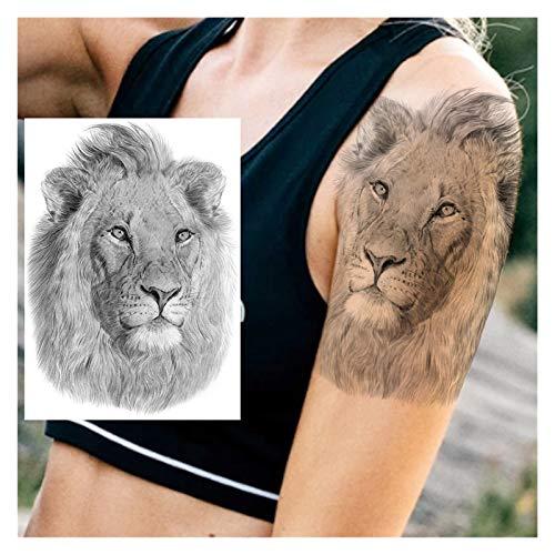 Duradero 5 PCS África Serengeti León Tatuaje Temporal Tribal Indio Tribal Mighty Lion Warrior Impermeable Flash Tattoo Pegatina Negro Hombres Mujeres para la fiesta del festival ( Color : HLZ171 )