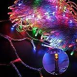 Whengx Stecker Lichterkette, Stecker Gartenlichterkette, 100m 800 LED 8 Arten von Blinkmustern, Weihnachtsbaumschmuck Landschaftsbeleuchtung, Pavillon, Terrassendekoration, blau, 50m,Multicolor,100m