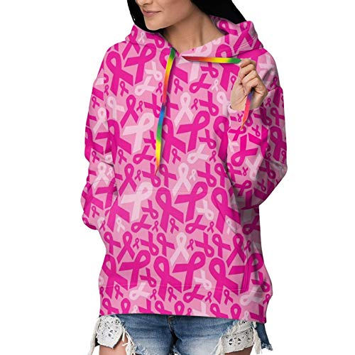 Novelty Hoodies with Big Pockets for Women & Girls, Drawstring Pullover Hooded Sweatshirts for Exercise, Picnic, Yoga, Fit Outwear Tunic Tops - Breast Cancer Ribbons