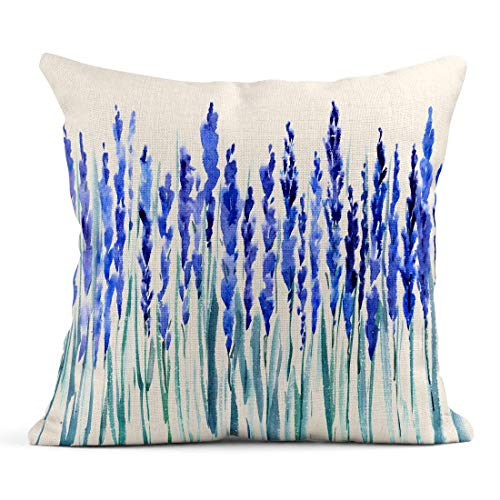 485 Protectora De Almohada 45x45cm Fundas De Almohada Perfume Lavender Watercolor Paint of Blue Blossom Flower For Lavander France Tirar Almohada Cojin