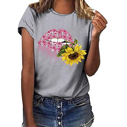 BURFLY Mode Damen Oberteile, Sommer Frauen Große Größe Casual Sonnenblume Drucken T-Shirt Rundhals Kurzarm lose Bluse Tops