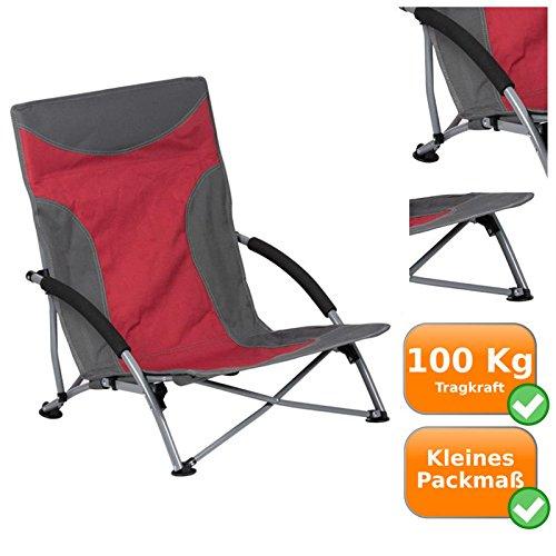 Unbekannt Strandstuhl mit extra hoher Tragkraft bis zu 100Kg, extra breite Standfüße, auch ideal für weichen Boden, optimal für Picknick, Camping und Festival´s, Minimales Eigengewicht von nur 3Kg