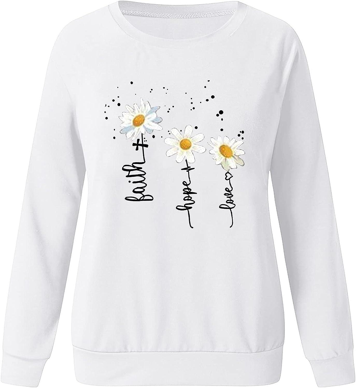 Aniwood Women's Teen Girls Floral Print Long Sleeve Crewneck Casual Loose Sweatshirts for Women Hooded Top Blouse