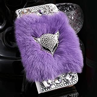 iPhone 7 Jewelled Case, Fox Fur Hair Clear Crystal DIY Handmade Wallet Case for Apple iPhone 7 4.7 inch Luxury Diamond Card Slot Kickstand Pouch Skin Cover