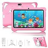 Tablet per Bambini 7 Pollici Android 9.0 Pie Kids Tablet Wi-Fi 3GB+ 32GB/128GB Espansa con 5+2MP Doppia Fotocamera Educazione Allo Spettacolo Tablet Quad Core (Rosa)
