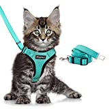 Eagloo Cat Harness and Leash Set for Walking Escape Proof with 2-in-1 Leash and Car Seat Belt Adjustable Harness for Cats Soft Mesh Cat Vest with Reflective Strap for Kitten Rabbit Puppy Green X-Small