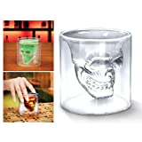 4x Verre Alcool 'Tete Mort' Head Shot Skull Crystal Glass Crane Cristal Coupe vodka verrerie