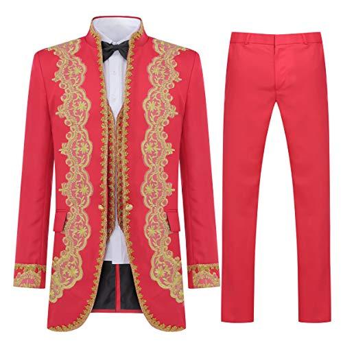 Chalecos y Pantalones Estilo Real Esmoquin Blazer Abrigos Estilo Slim fit de 3 Piezas Trajes de Lujo para Hombres Chaquetas Traje de Vestir Elegante