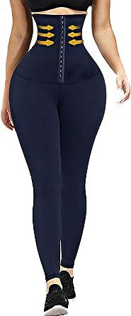 SEASUM High Waisted Corset Waist Trainer Leggings for Women Tummy Control Leggings Body Shaping Waist Cincher Sports Legging
