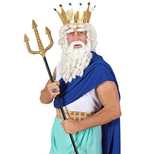 Widmann 24222- Goldener Dreizack, 120 cm, schwarzer Stiel, Stichwaffe, Poseidon, Karneval, Fasching, Mottoparty
