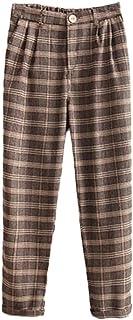 Fashion maker(F&M) ロングパンツ レディース チェック柄 ゆったり カジュアル 9分丈 おしゃれ 大きいサイズ 全2色 通勤 オフィス ズボン 美脚