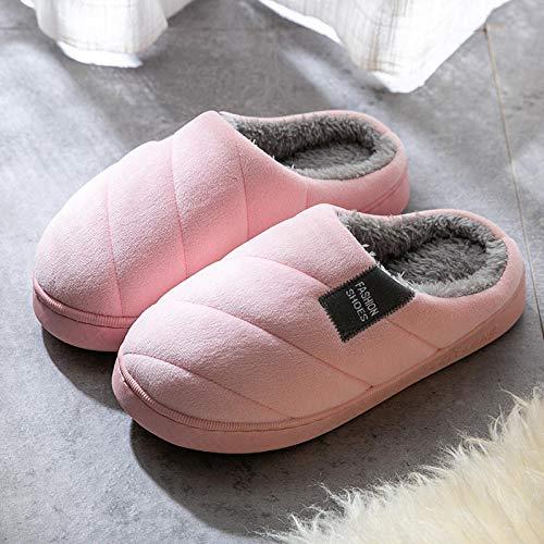 HUSHUI CáLido Zapatos Memory AlgodóN,Zapatillas de Plataforma cálidas y Antideslizantes, Zapatillas de algodón para Interiores para el hogar-Rosa 7_37-38,Pantuflas De Casa para Mujer